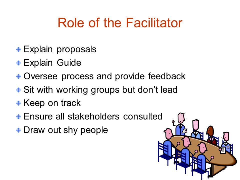 22 Role of the Facilitator Explain proposals Explain Guide Oversee process and provide feedback Sit with working groups but dont lead Keep on track Ensure all stakeholders consulted Draw out shy people