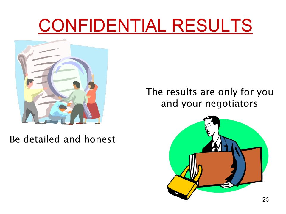 23 CONFIDENTIAL RESULTS Be detailed and honest The results are only for you and your negotiators
