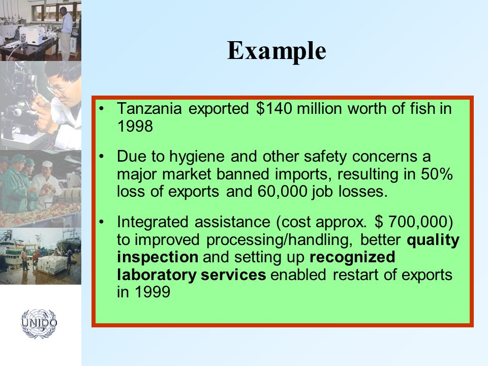 Example Tanzania exported $140 million worth of fish in 1998 Due to hygiene and other safety concerns a major market banned imports, resulting in 50% loss of exports and 60,000 job losses.