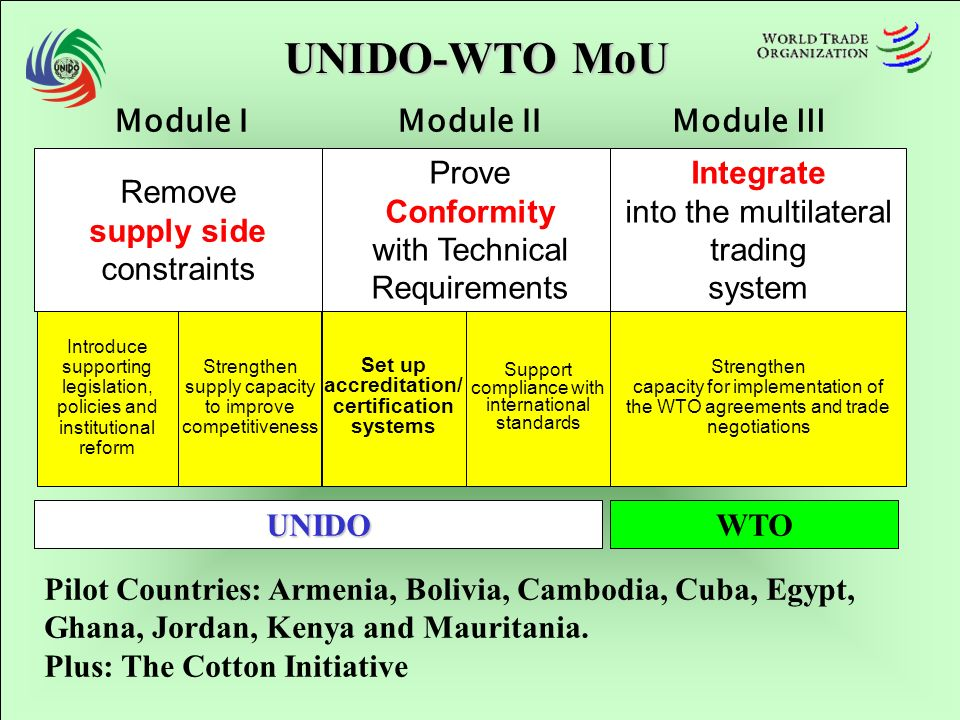 UNIDO-WTO MoU Introduce supporting legislation, policies and institutional reform Strengthen supply capacity to improve competitiveness Support compliance with international standards Set up accreditation/ certification systems Strengthen capacity for implementation of the WTO agreements and trade negotiations Remove supply side constraints Prove Conformity with Technical Requirements Integrate into the multilateral trading system Module IModule IIModule III UNIDOWTO Pilot Countries: Armenia, Bolivia, Cambodia, Cuba, Egypt, Ghana, Jordan, Kenya and Mauritania.