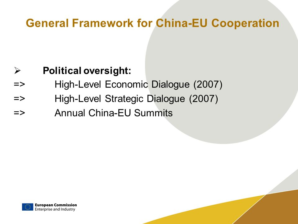 General Framework for China-EU Cooperation Political oversight: =>High-Level Economic Dialogue (2007) =>High-Level Strategic Dialogue (2007) =>Annual China-EU Summits