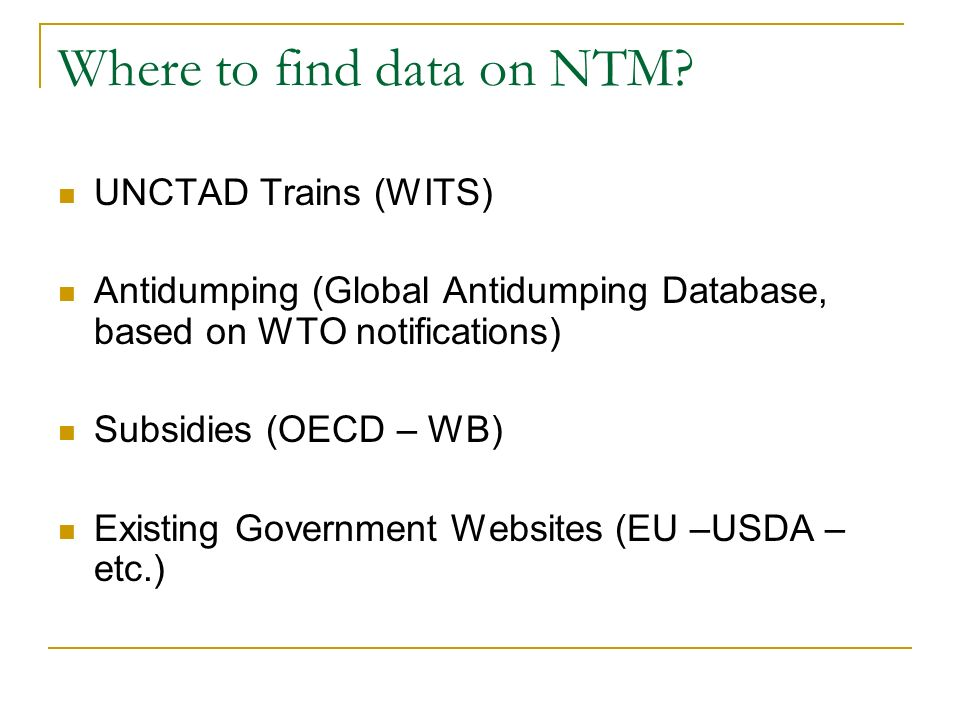 Where to find data on NTM.