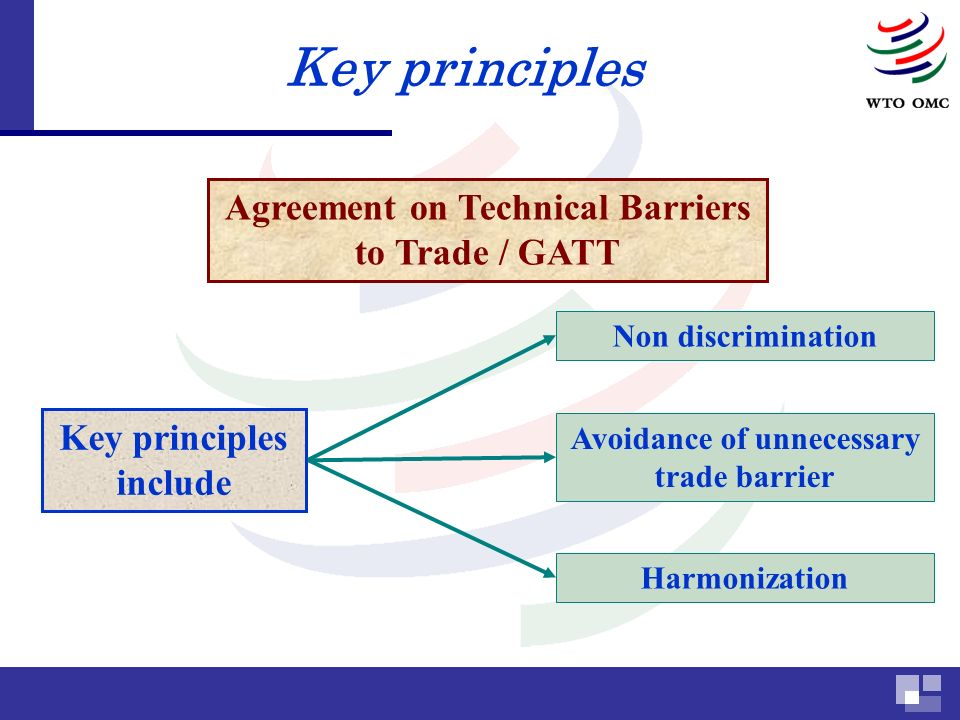 Key principles Agreement on Technical Barriers to Trade / GATT Key principles include Harmonization Non discrimination Avoidance of unnecessary trade barrier