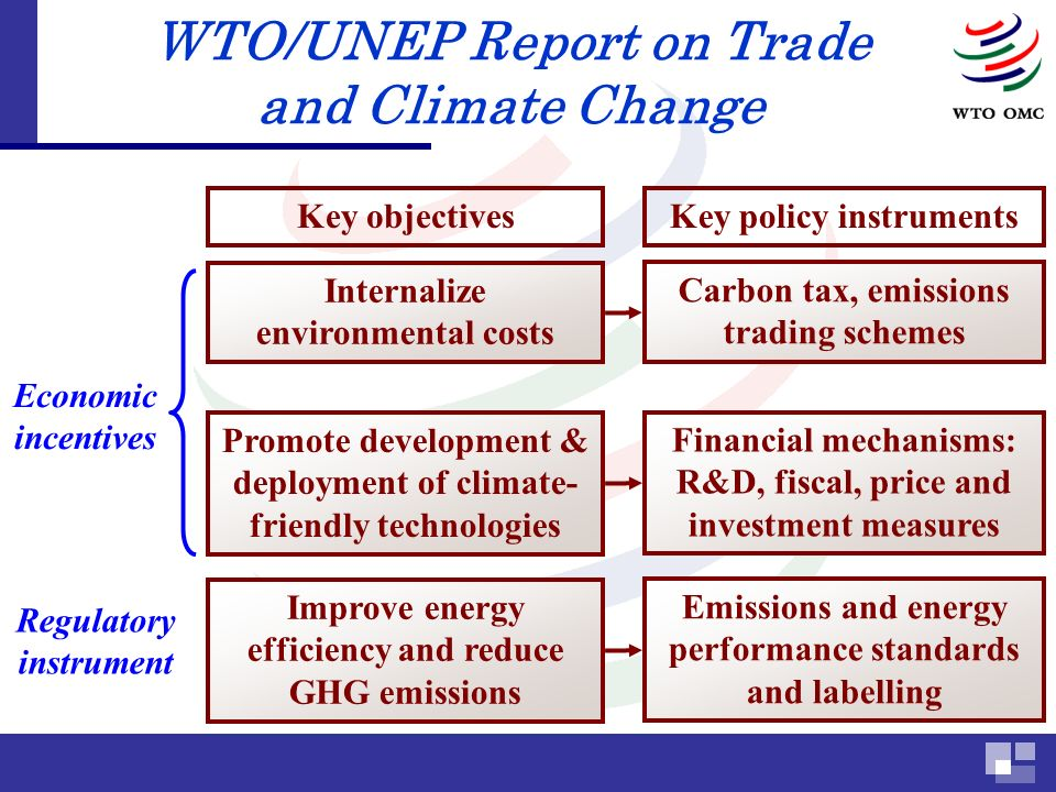 WTO/UNEP Report on Trade and Climate Change Key objectives Improve energy efficiency and reduce GHG emissions Key policy instruments Emissions and energy performance standards and labelling Regulatory instrument Promote development & deployment of climate- friendly technologies Financial mechanisms: R&D, fiscal, price and investment measures Economic incentives Internalize environmental costs Carbon tax, emissions trading schemes