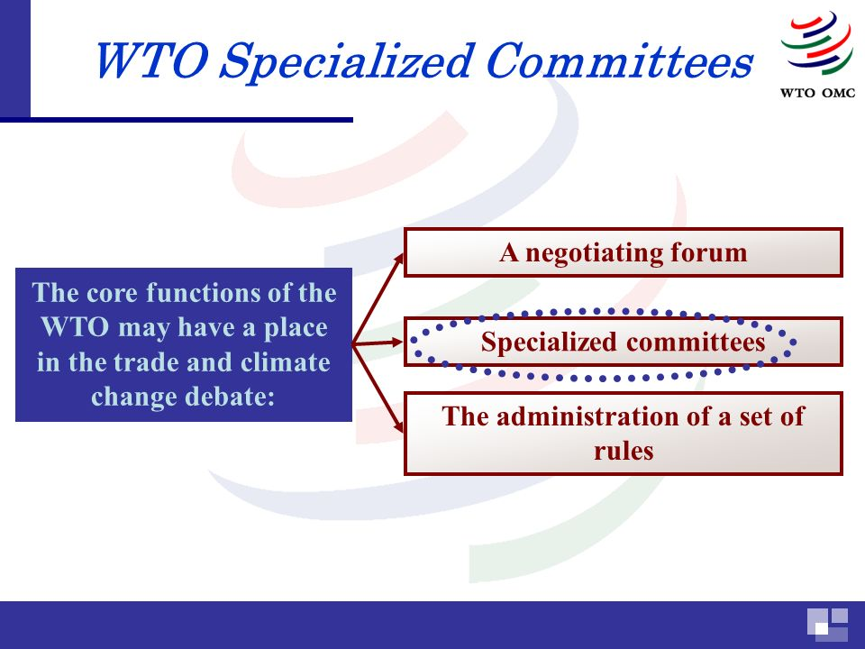 Specialized committees WTO Specialized Committees The core functions of the WTO may have a place in the trade and climate change debate: The administration of a set of rules A negotiating forum