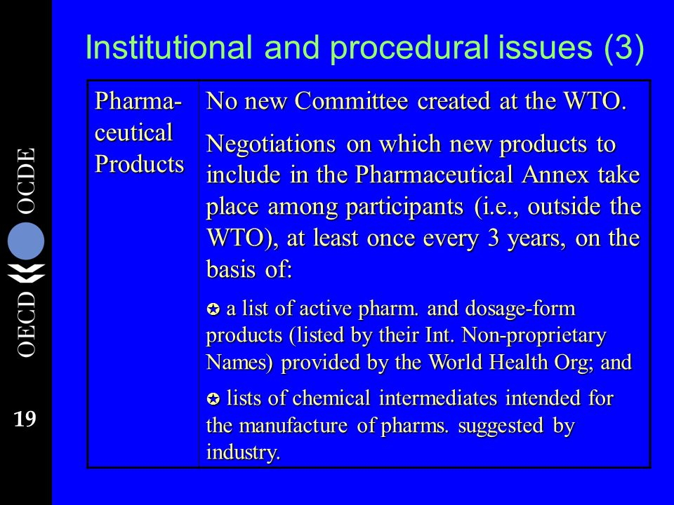 19 Institutional and procedural issues (3) Pharma- ceutical Products No new Committee created at the WTO.