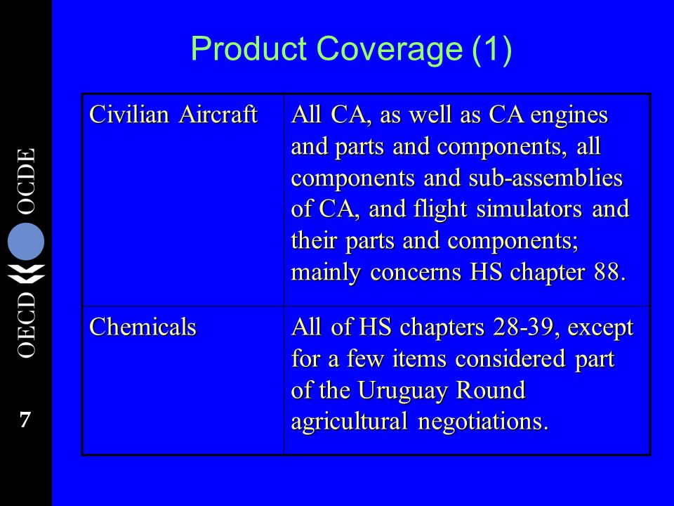 7 Product Coverage (1) Civilian Aircraft All CA, as well as CA engines and parts and components, all components and sub-assemblies of CA, and flight simulators and their parts and components; mainly concerns HS chapter 88.