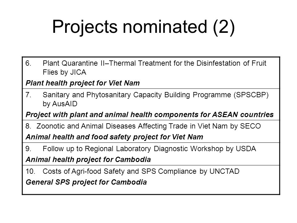 Projects nominated (2) 6.Plant Quarantine II–Thermal Treatment for the Disinfestation of Fruit Flies by JICA Plant health project for Viet Nam 7.Sanitary and Phytosanitary Capacity Building Programme (SPSCBP) by AusAID Project with plant and animal health components for ASEAN countries 8.Zoonotic and Animal Diseases Affecting Trade in Viet Nam by SECO Animal health and food safety project for Viet Nam 9.Follow up to Regional Laboratory Diagnostic Workshop by USDA Animal health project for Cambodia 10.Costs of Agri-food Safety and SPS Compliance by UNCTAD General SPS project for Cambodia