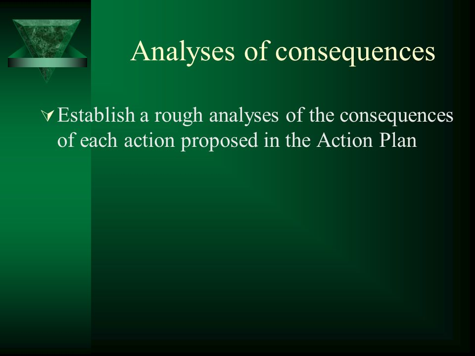 Analyses of consequences Establish a rough analyses of the consequences of each action proposed in the Action Plan