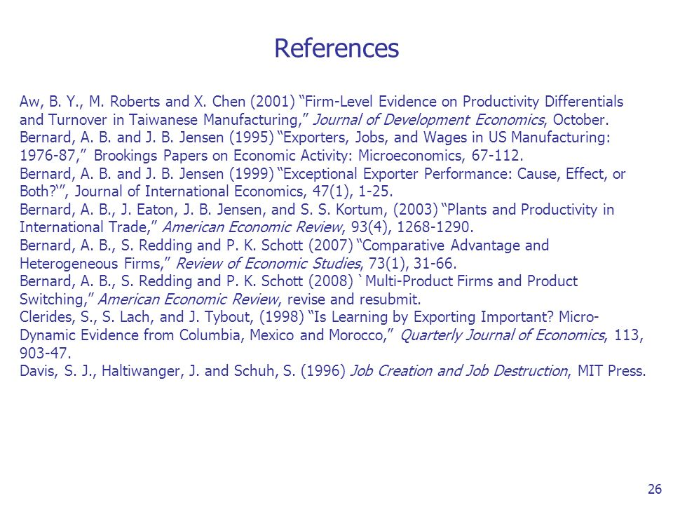 26 References Aw, B. Y., M. Roberts and X.