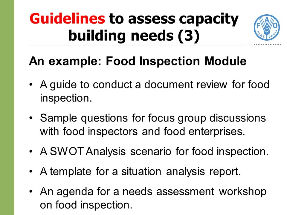 An example: Food Inspection Module A guide to conduct a document review for food inspection.