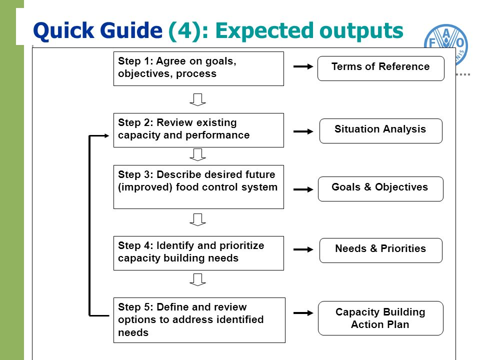 Step 2: Review existing capacity and performance Step 3: Describe desired future (improved) food control system Step 4: Identify and prioritize capacity building needs Step 5: Define and review options to address identified needs Step 1: Agree on goals, objectives, process Capacity Building Action Plan Situation Analysis Goals & Objectives Terms of Reference Needs & Priorities Quick Guide (4): Expected outputs