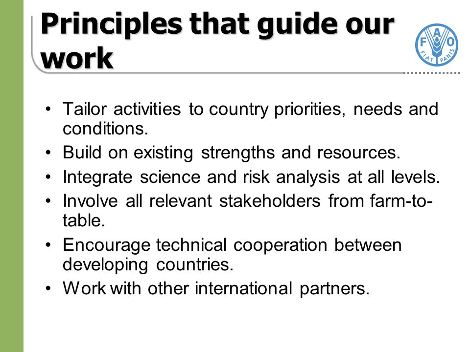 Principles that guide our work Tailor activities to country priorities, needs and conditions.