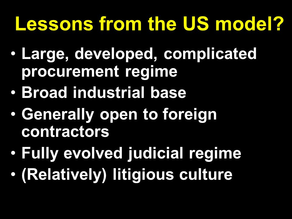 Lessons from the US model.