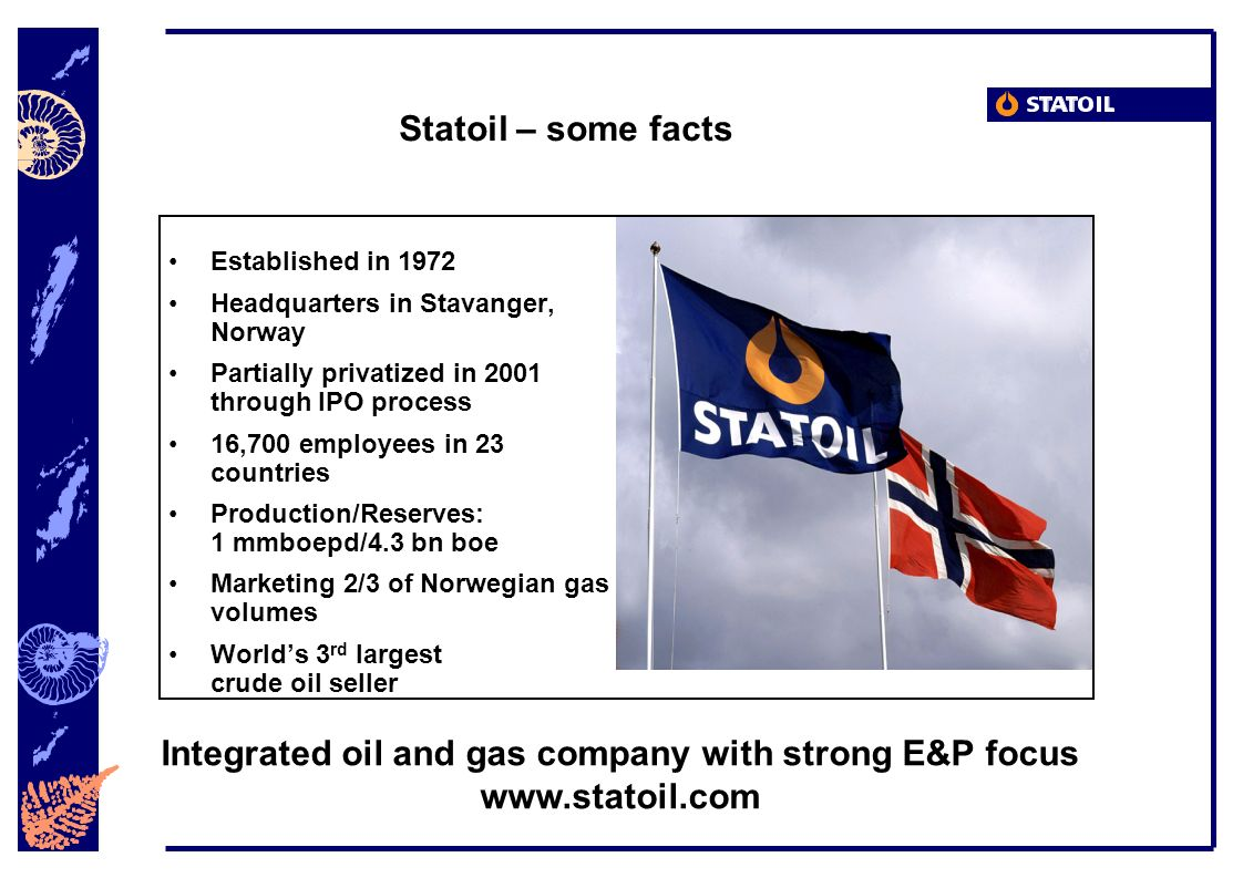 Statoil – some facts Established in 1972 Headquarters in Stavanger, Norway Partially privatized in 2001 through IPO process 16,700 employees in 23 countries Production/Reserves: 1 mmboepd/4.3 bn boe Marketing 2/3 of Norwegian gas volumes Worlds 3 rd largest crude oil seller Integrated oil and gas company with strong E&P focus www.statoil.com