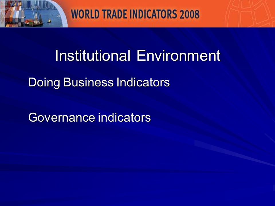 Doing Business Indicators Governance indicators Institutional Environment