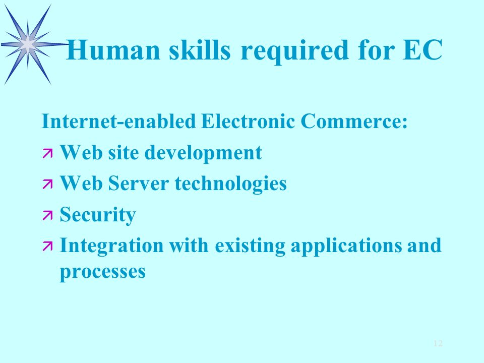 12 Human skills required for EC Internet-enabled Electronic Commerce: ä ä Web site development ä ä Web Server technologies ä ä Security ä ä Integration with existing applications and processes