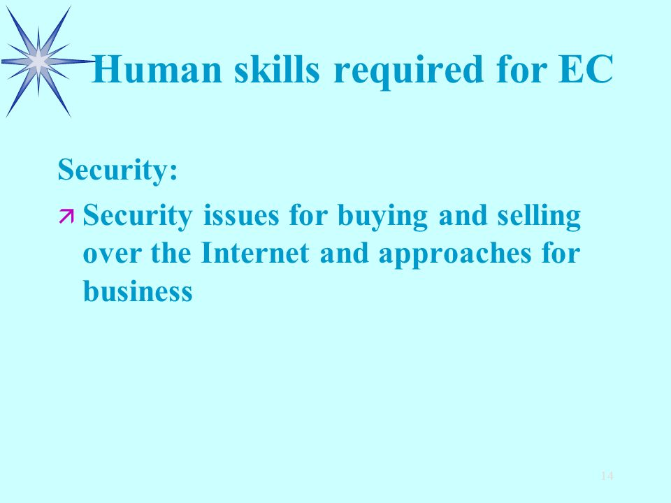 14 Human skills required for EC Security: ä ä Security issues for buying and selling over the Internet and approaches for business