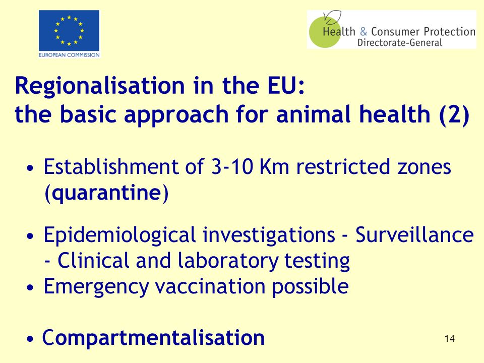 14 Regionalisation in the EU: the basic approach for animal health (2) Establishment of 3-10 Km restricted zones (quarantine) Epidemiological investigations - Surveillance - Clinical and laboratory testing Emergency vaccination possible Compartmentalisation