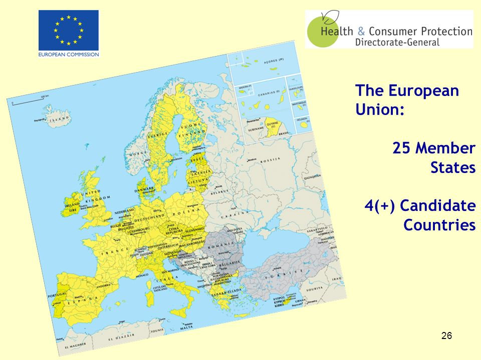 26 The European Union: 25 Member States 4(+) Candidate Countries