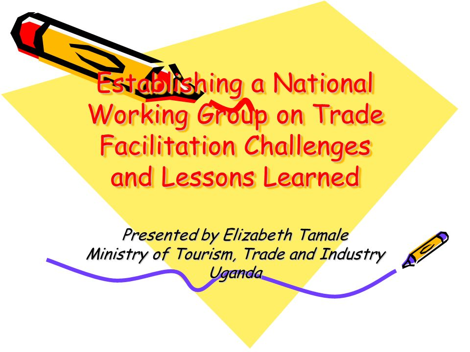 Establishing a National Working Group on Trade Facilitation Challenges and Lessons Learned Presented by Elizabeth Tamale Ministry of Tourism, Trade and Industry Uganda
