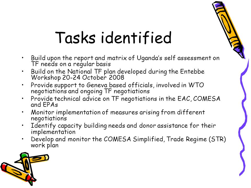 Tasks identified Build upon the report and matrix of Ugandas self assessment on TF needs on a regular basis Build on the National TF plan developed during the Entebbe Workshop October 2008 Provide support to Geneva based officials, involved in WTO negotiations and ongoing TF negotiations Provide technical advice on TF negotiations in the EAC, COMESA and EPAs Monitor implementation of measures arising from different negotiations Identify capacity building needs and donor assistance for their implementation Develop and monitor the COMESA Simplified, Trade Regime (STR) work plan