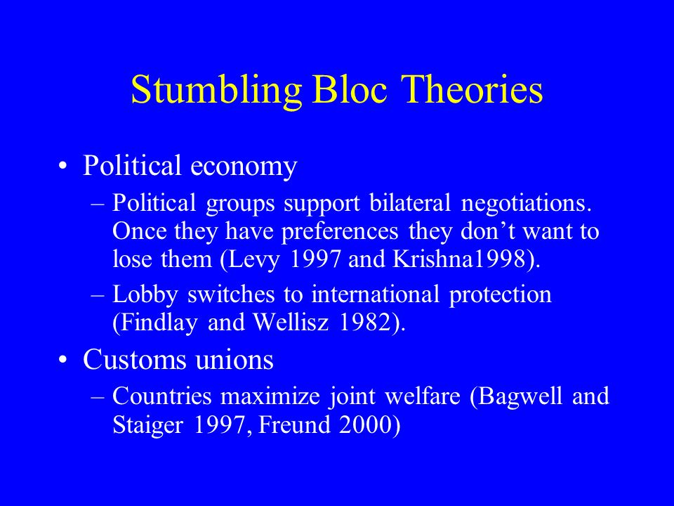 Stumbling Bloc Theories Political economy –Political groups support bilateral negotiations.