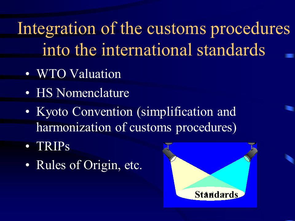 Integration of the customs procedures into the international standards WTO Valuation HS Nomenclature Kyoto Convention (simplification and harmonization of customs procedures) TRIPs Rules of Origin, etc.