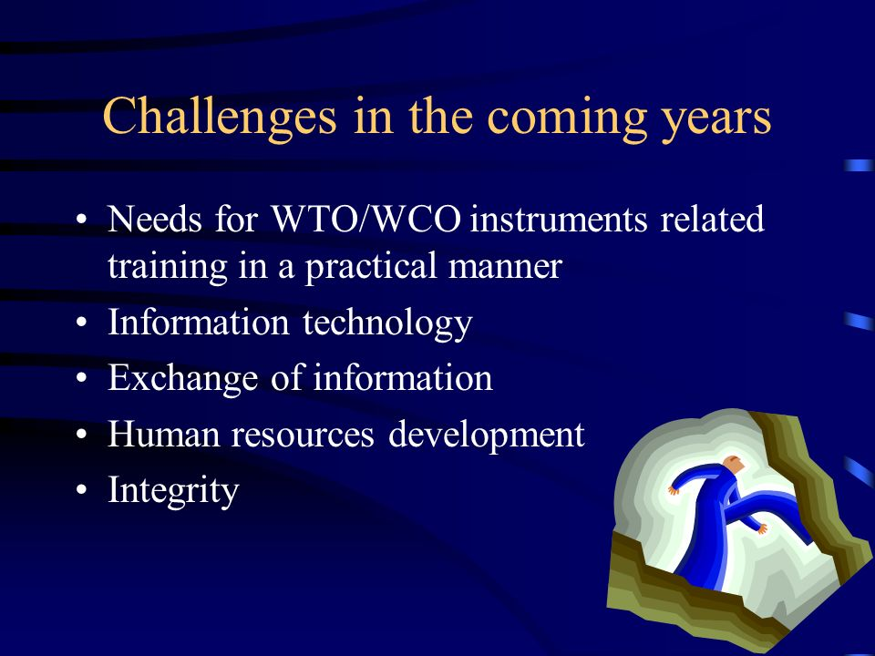 Challenges in the coming years Needs for WTO/WCO instruments related training in a practical manner Information technology Exchange of information Human resources development Integrity