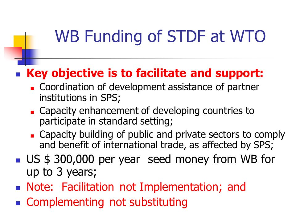 WB Funding of STDF at WTO Key objective is to facilitate and support: Coordination of development assistance of partner institutions in SPS; Capacity enhancement of developing countries to participate in standard setting; Capacity building of public and private sectors to comply and benefit of international trade, as affected by SPS; US $ 300,000 per year seed money from WB for up to 3 years; Note: Facilitation not Implementation; and Complementing not substituting