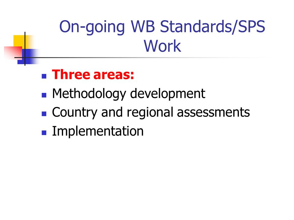 On-going WB Standards/SPS Work Three areas: Methodology development Country and regional assessments Implementation