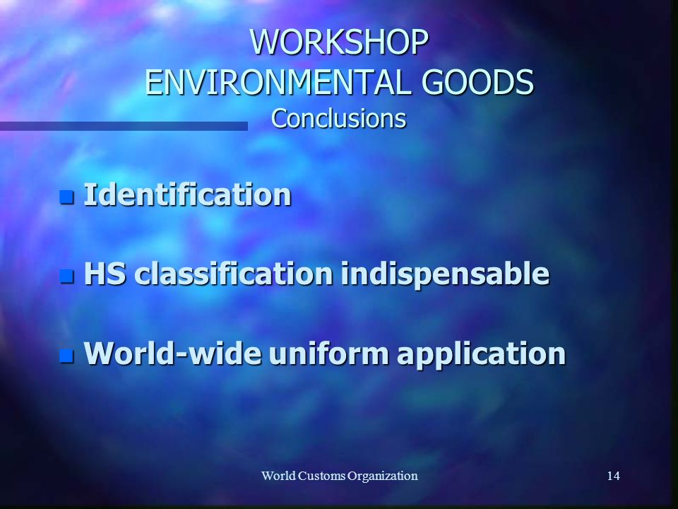 World Customs Organization14 WORKSHOP ENVIRONMENTAL GOODS Conclusions n Identification n HS classification indispensable n World-wide uniform application
