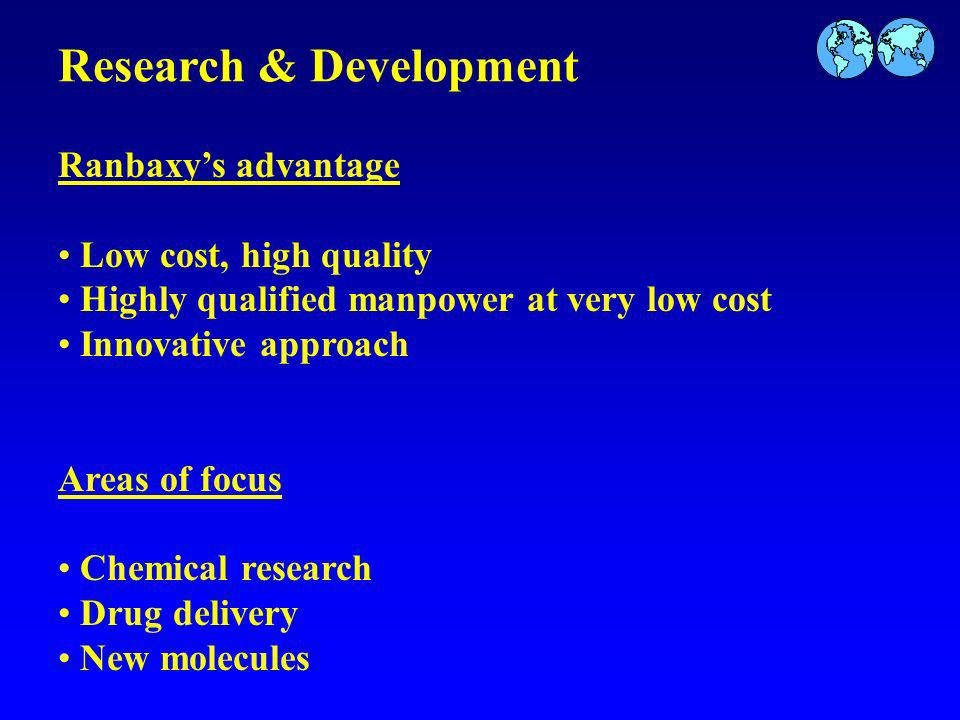 Research & Development Ranbaxys advantage Low cost, high quality Highly qualified manpower at very low cost Innovative approach Areas of focus Chemical research Drug delivery New molecules