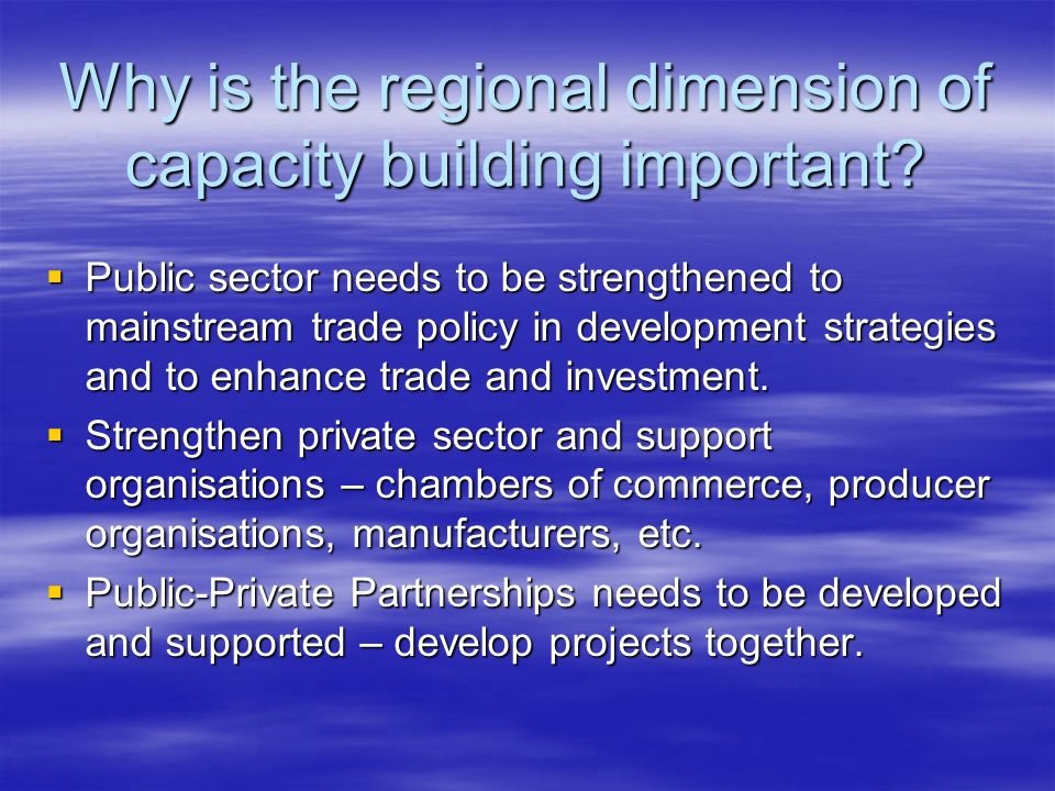 Why is the regional dimension of capacity building important.