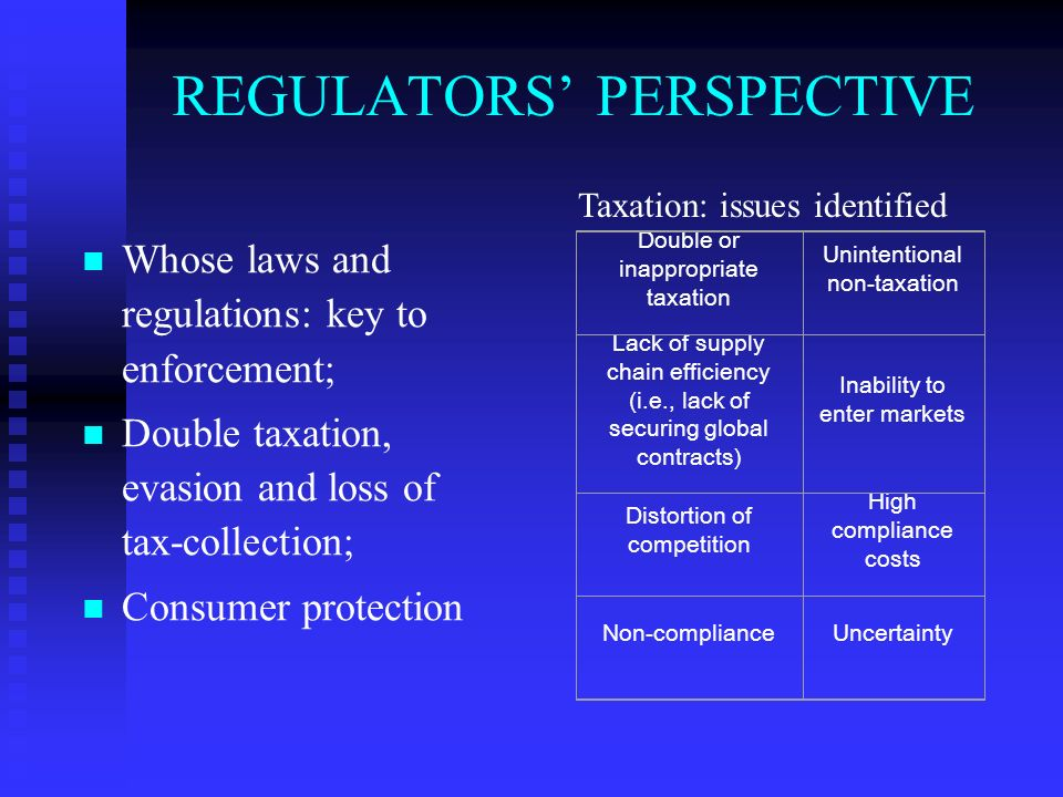 REGULATORS PERSPECTIVE Whose laws and regulations: key to enforcement; Double taxation, evasion and loss of tax-collection; Consumer protection Double or inappropriate taxation Unintentional non-taxation Lack of supply chain efficiency (i.e., lack of securing global contracts) Inability to enter markets Distortion of competition High compliance costs Non-complianceUncertainty Taxation: issues identified