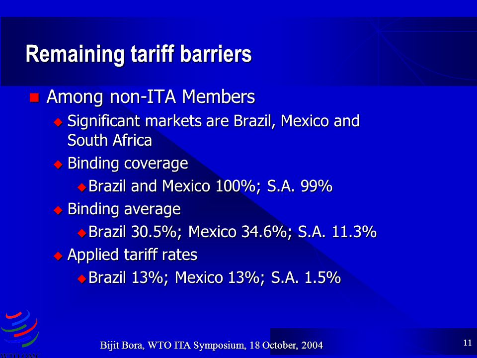 11 Bijit Bora, WTO ITA Symposium, 18 October, 2004 Remaining tariff barriers Among non-ITA Members Among non-ITA Members u Significant markets are Brazil, Mexico and South Africa u Binding coverage Brazil and Mexico 100%; S.A.