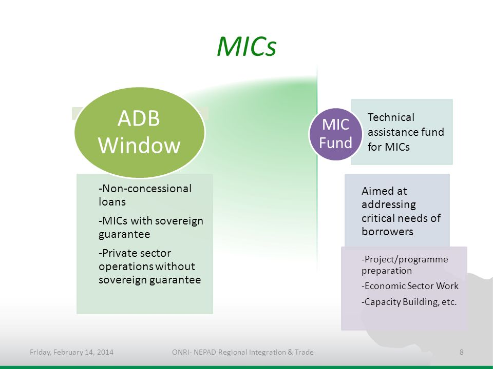 MICs -Non-concessional loans -MICs with sovereign guarantee -Private sector operations without sovereign guarantee ADB Window Technical assistance fund for MICs Aimed at addressing critical needs of borrowers -Project/programme preparation -Economic Sector Work -Capacity Building, etc.