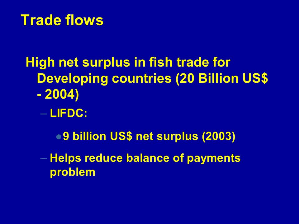 Trade flows High net surplus in fish trade for Developing countries (20 Billion US$ - 2004) –LIFDC: 9 billion US$ net surplus (2003) –Helps reduce balance of payments problem