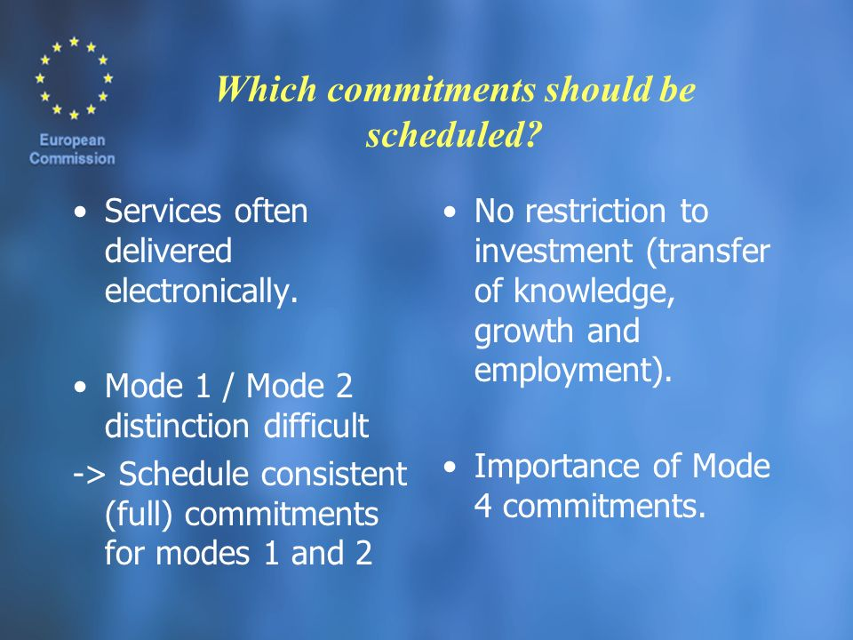 Which commitments should be scheduled. Services often delivered electronically.