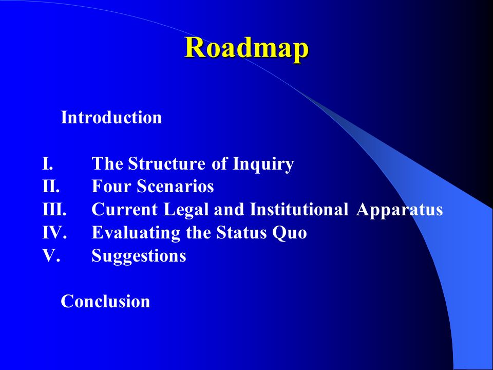 Roadmap Introduction I.The Structure of Inquiry II.Four Scenarios III.Current Legal and Institutional Apparatus IV.Evaluating the Status Quo V.Suggestions Conclusion