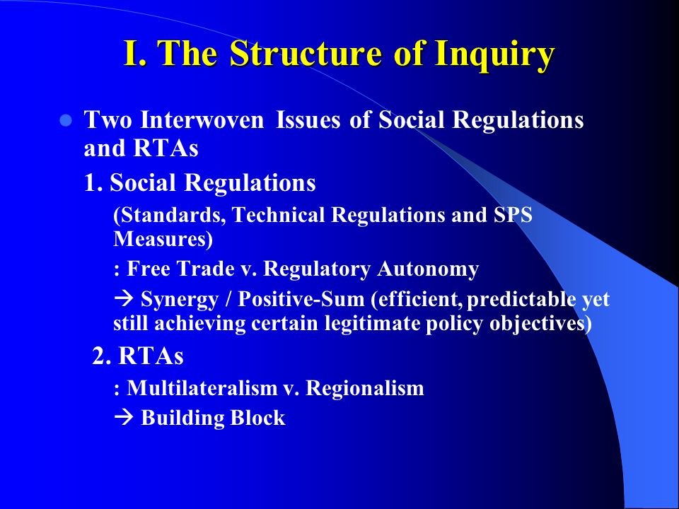 I. The Structure of Inquiry Two Interwoven Issues of Social Regulations and RTAs 1.