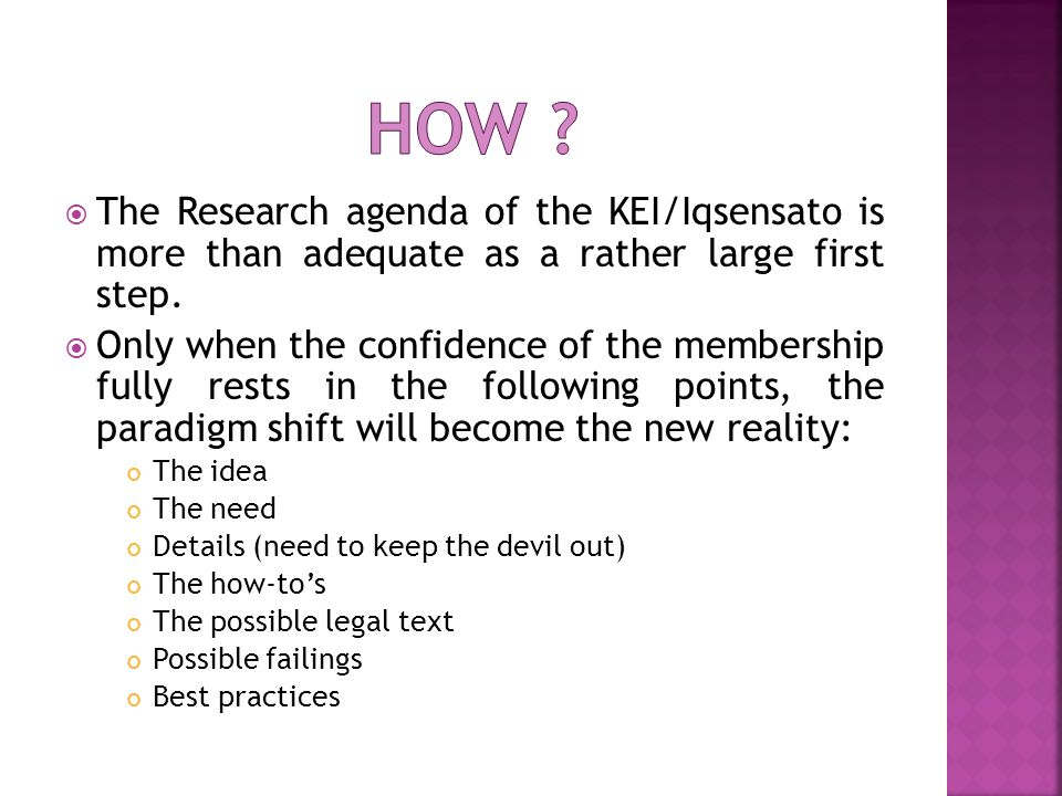 The Research agenda of the KEI/Iqsensato is more than adequate as a rather large first step.