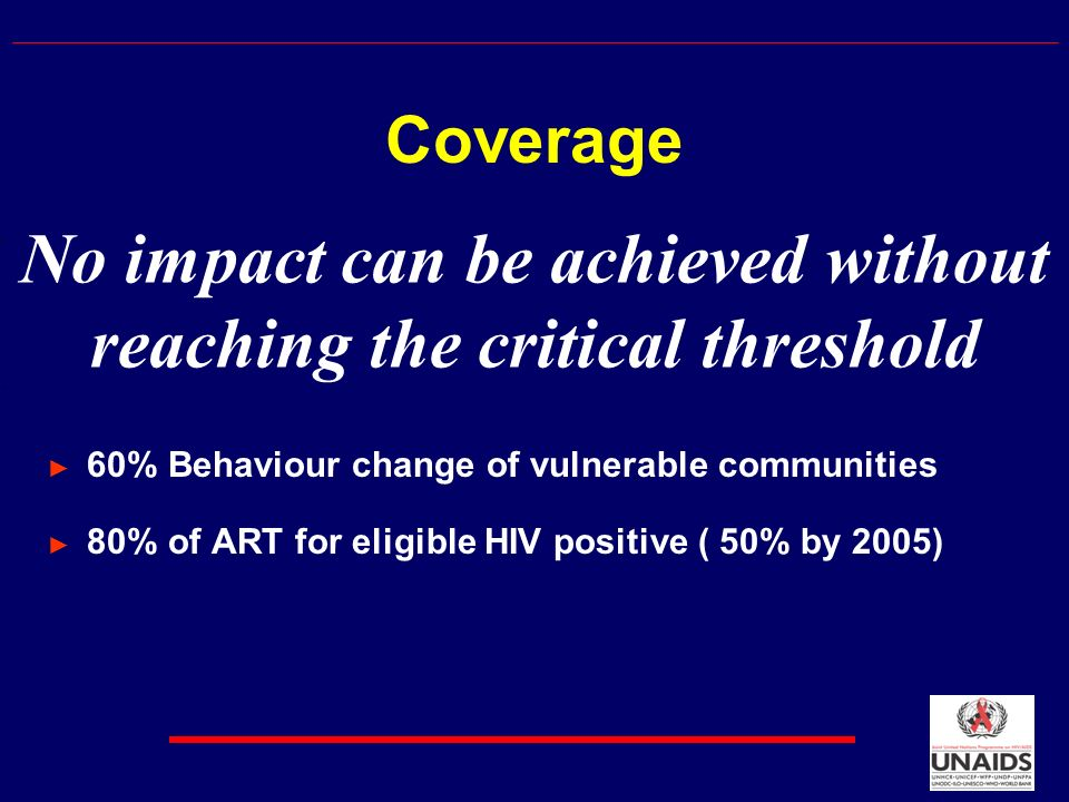No impact can be achieved without reaching the critical threshold Coverage 60% Behaviour change of vulnerable communities 80% of ART for eligible HIV positive ( 50% by 2005)