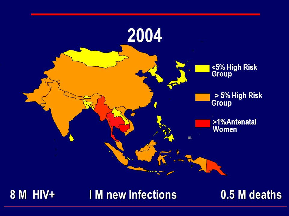 2004 <5% High Risk Group > 5% High Risk Group >1%Antenatal Women 8 M HIV+ I M new Infections 0.5 M deaths