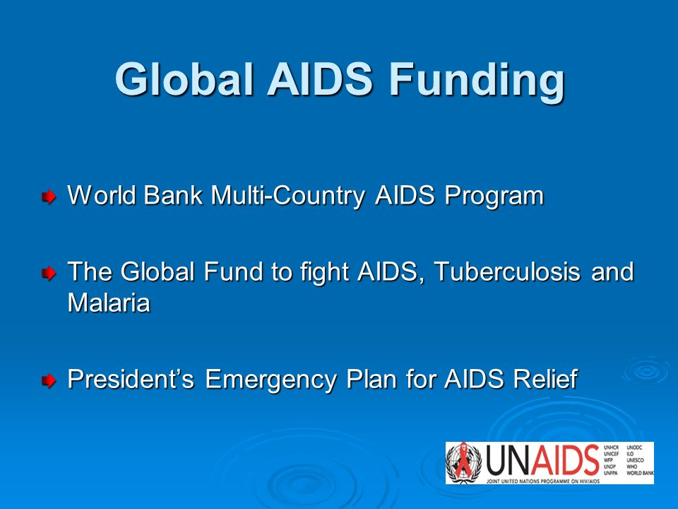 Global AIDS Funding World Bank Multi-Country AIDS Program The Global Fund to fight AIDS, Tuberculosis and Malaria Presidents Emergency Plan for AIDS Relief