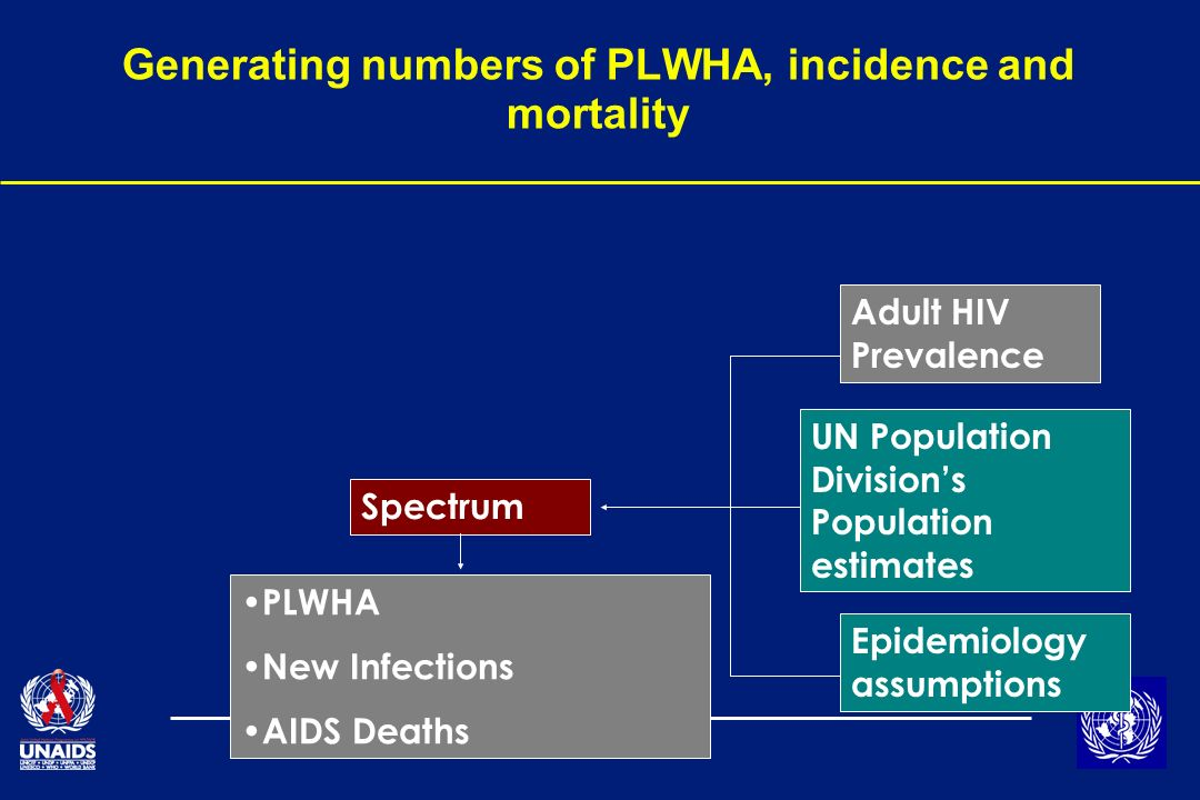 Generating numbers of PLWHA, incidence and mortality Adult HIV Prevalence UN Population Divisions Population estimates Epidemiology assumptions Spectrum PLWHA New Infections AIDS Deaths
