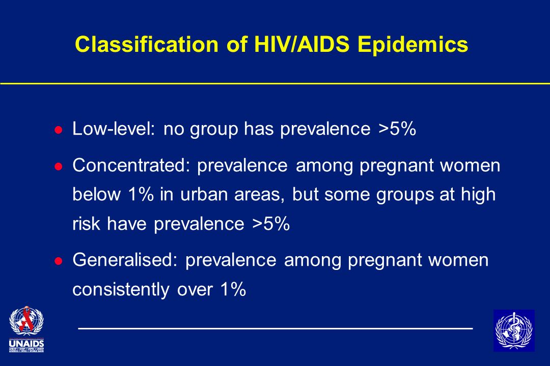 Classification of HIV/AIDS Epidemics l Low-level: no group has prevalence >5% l Concentrated: prevalence among pregnant women below 1% in urban areas, but some groups at high risk have prevalence >5% l Generalised: prevalence among pregnant women consistently over 1%