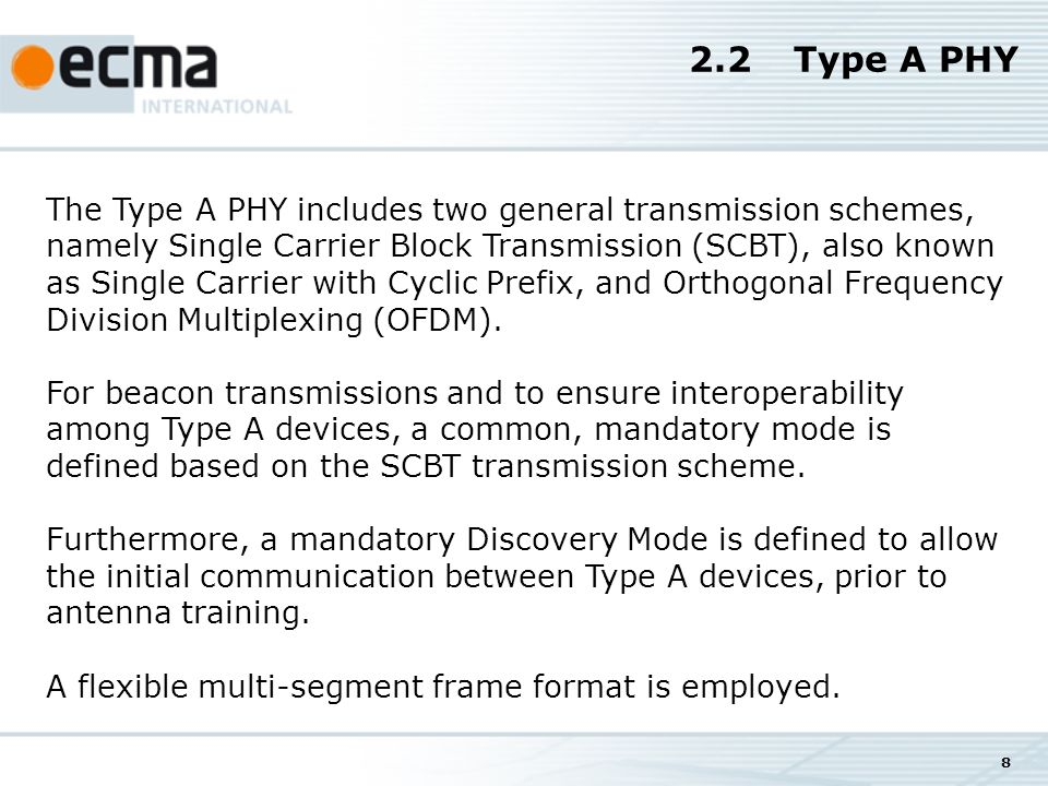 8 2.2Type A PHY The Type A PHY includes two general transmission schemes, namely Single Carrier Block Transmission (SCBT), also known as Single Carrier with Cyclic Prefix, and Orthogonal Frequency Division Multiplexing (OFDM).