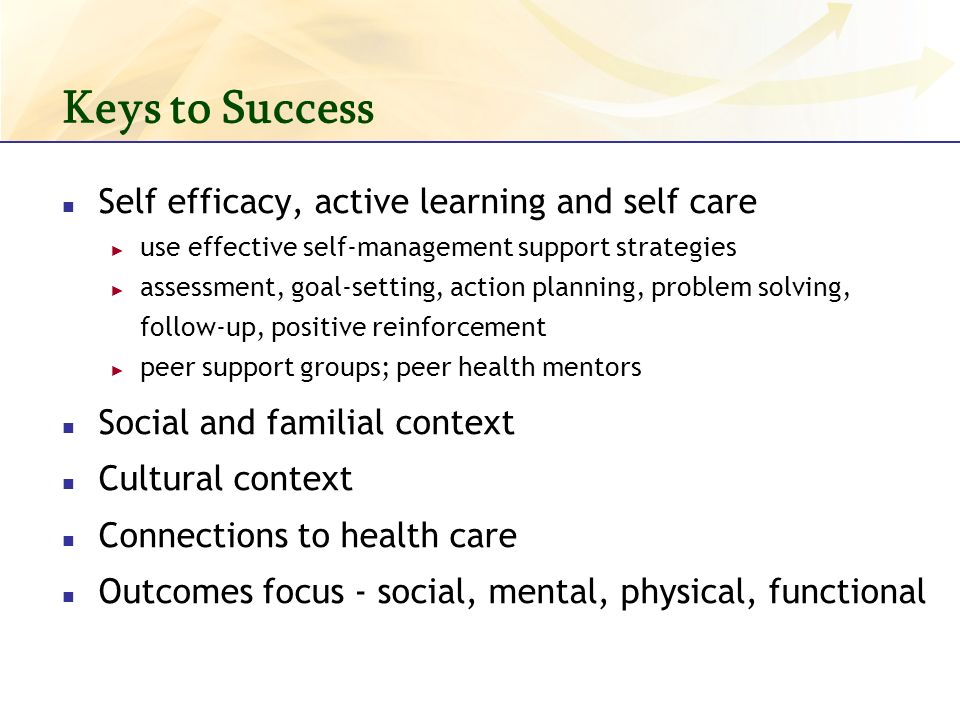 Keys to Success Self efficacy, active learning and self care use effective self-management support strategies assessment, goal-setting, action planning, problem solving, follow-up, positive reinforcement peer support groups; peer health mentors Social and familial context Cultural context Connections to health care Outcomes focus - social, mental, physical, functional