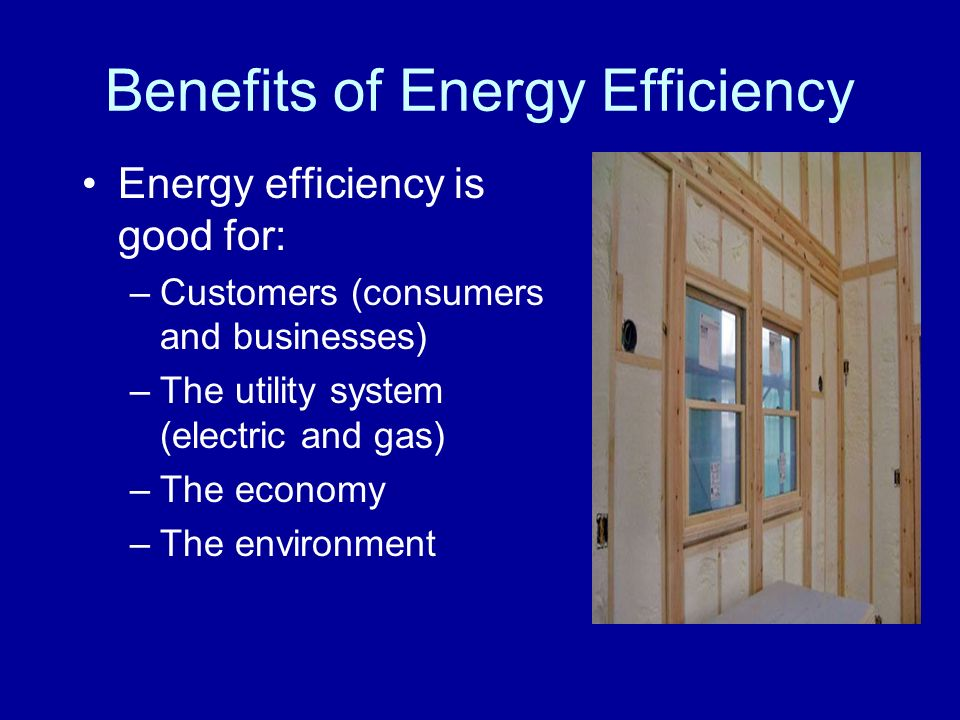 Benefits of Energy Efficiency Energy efficiency is good for: –Customers (consumers and businesses) –The utility system (electric and gas) –The economy –The environment